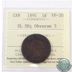 1-cent 1891 SD SL Obverse 3 ICCS Certified VF-20