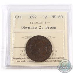 1-cent 1892 Obverse 2 ICCS Certified MS-60 Brown