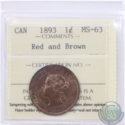 1-cent 1893 ICCS Certified MS-63. Red/Brown