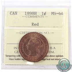 1-cent 1898H ICCS Certified MS-64 Red