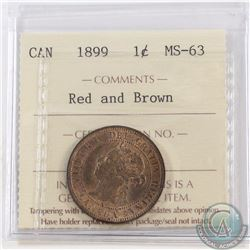1-cent 1899 ICCS Certified MS-63 Red/Brown