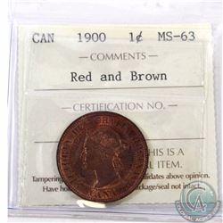 1-cent 1900 ICCS Certified MS-63 Red/Brown