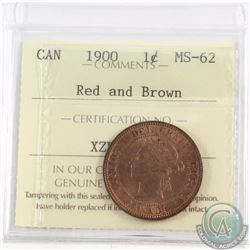 1-cent 1900 ICCS Certified MS-62 Red and Brown
