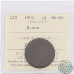 1-cent 1900 ICCS Certified MS-60 Brown