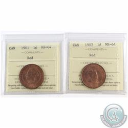 1-cent 1901 & 1902 ICCS Certified MS-64 Red. 2pcs