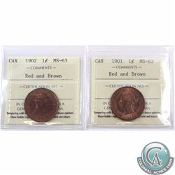 1-cent 1901 & 1902 ICCS Certified MS-63 Red and Brown. 2pcs