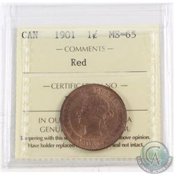 1-cent 1901 ICCS Certified MS-65 Red. Coin has nice consistent red tones throughout the Obverse and