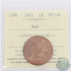 1-cent 1901 ICCS Certified MS-64 Red