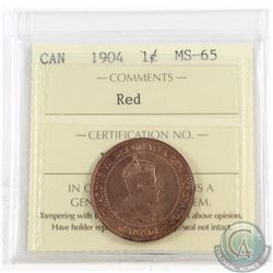 1-cent 1904 ICCS Certified MS-65 Red