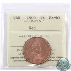 1-cent 1905 ICCS Certified MS-65 Red