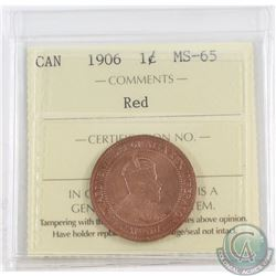 1-cent 1906 ICCS Certified MS-65 Red. A bright red coin throughout, one of harder Edwardian dates in