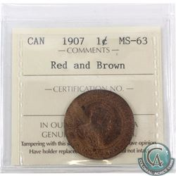1-cent 1907 ICCS Certified MS-63 Red and Brown