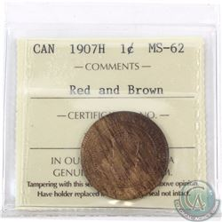 1-cent 1907H ICCS Certified MS-62 Red and Brown