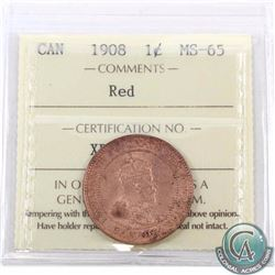 1-cent 1908 ICCS Certified MS-65 Red