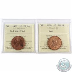1-cent 1908 Red/Brown & 1910 Red ICCS Certified MS-64. 2pcs
