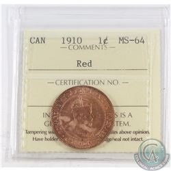 1-cent 1910 ICCS Certified MS-64 Red