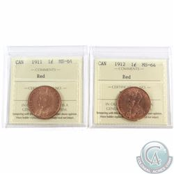 1-cent 1911 & 1912 ICCS Certified MS-64 Red. 2pcs