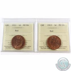 1-cent 1911 & 1913 ICCS Certified MS-64 Red. 2pcs