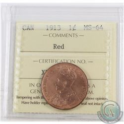 1-cent 1913 ICCS Certified MS-64 Red