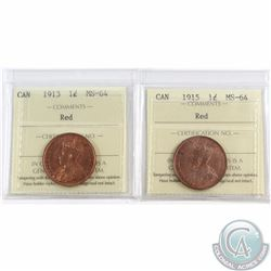 1-cent 1913 & 1915 ICCS Certified MS-64 Red. 2pcs