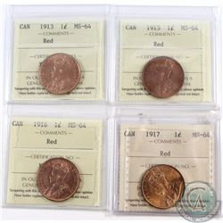 1-cent 1913, 1915, 1916, 1917 ICCS Certified MS-64 Red. 4pcs.