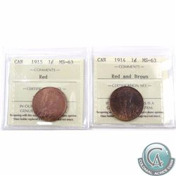 1-cent 1914 Red and Brown & 1915 Red ICCS Certified MS-63. 2pcs
