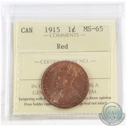 1-cent 1915 ICCS Certified MS-65 Red