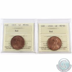 1-cent 1915 & 1916 ICCS Certified MS-64 Red. 2pcs