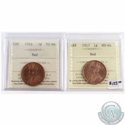 1-cent 1916 & 1917 ICCS Certified MS-64 Red. 2pcs