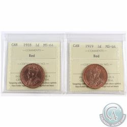 1-cent 1918 & 1919 ICCS Certified MS-64 Red. 2pcs