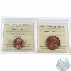 1-cent 1920 Large & Small ICCS Certified MS-64 Red. 2pcs
