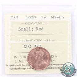 1-cent 1920 Small ICCS Certified MS-65 RED! A nice near full red coin with flashy fields. Tied for t