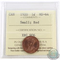 1-cent 1920 ICCS Certified MS-64 Small; Red