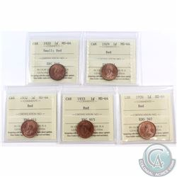 1-cent 1920 (small), 1929, 1932, 1933, 1936 ICCS Certified MS-64 Red. 5pcs.