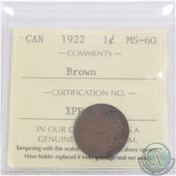 1-cent 1922 ICCS Certified MS-60 Brown