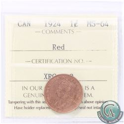1-cent 1924 ICCS Certified MS-64 RED. A soft red coin with consistent colouring throughout. Tied for