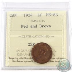 1-cent 1924 ICCS Certified MS-63 Red and Brown