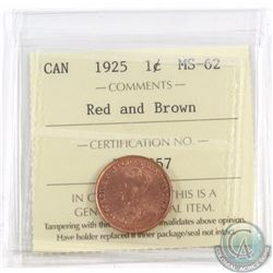 1-cent 1925 ICCS Certified MS-62 Red & Brown