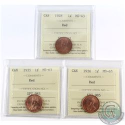 1-cent 1928, 1935, & 1936 ICCS Certified MS-63. 3pcs