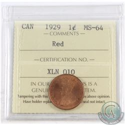 1-cent 1929 ICCS Certified MS-64 Red