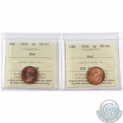 1-cent 1929 ICCS Certified MS-63 Red & 1936 MS-64 Red. 2pcs