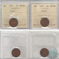 1-cent 1930 & 1931 ICCS Certified MS-60 Brown. 2pcs