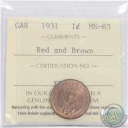 1-cent 1931 ICCS Certified MS-63 Red and Brown