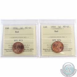 1-cent 1932 & 1933 ICCS Certified MS-64 Red. 2pcs
