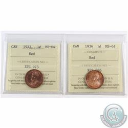 1-cent 1933 & 1936 ICCS Certified MS-64 Red. 2pcs