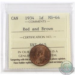 1-cent 1934 ICCS Certified MS-64 Red and Brown