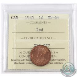 1-cent 1935 ICCS Certified MS-64 Red