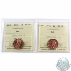 1-cent 1935 & 1945 ICCS Certified MS-64 Red. 2pcs