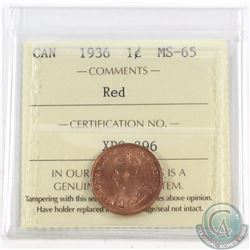 1-cent 1936 ICCS Certified MS-65 Red