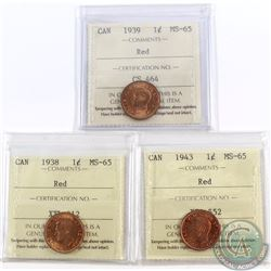 1-cent 1938, 1939, 1943 ICCS Certified MS-65 Red. 3pcs.